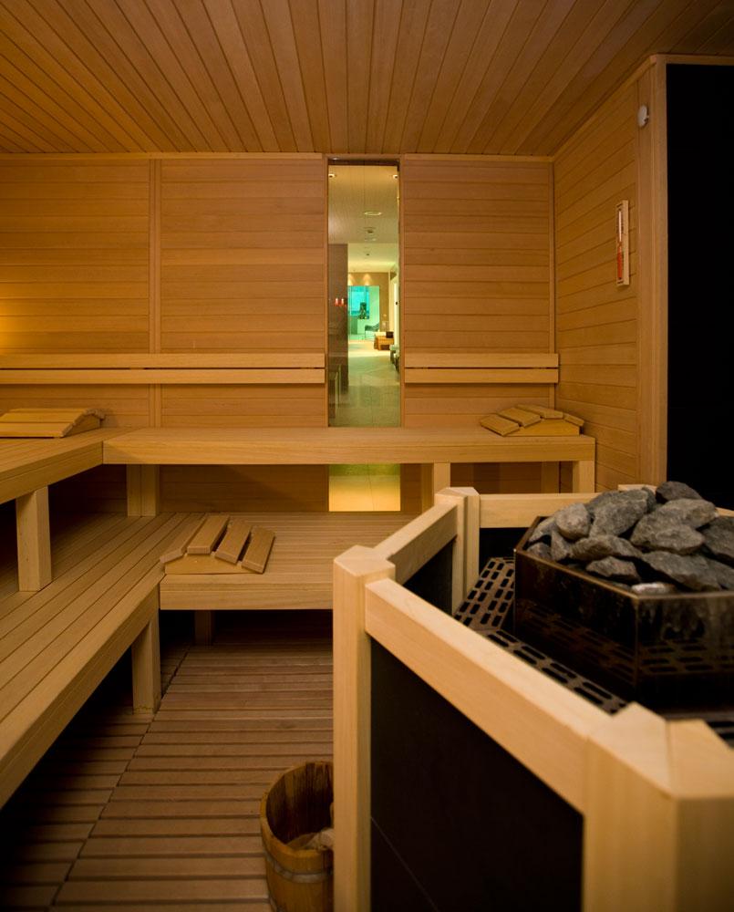 Sauna con cannocchiale focal point