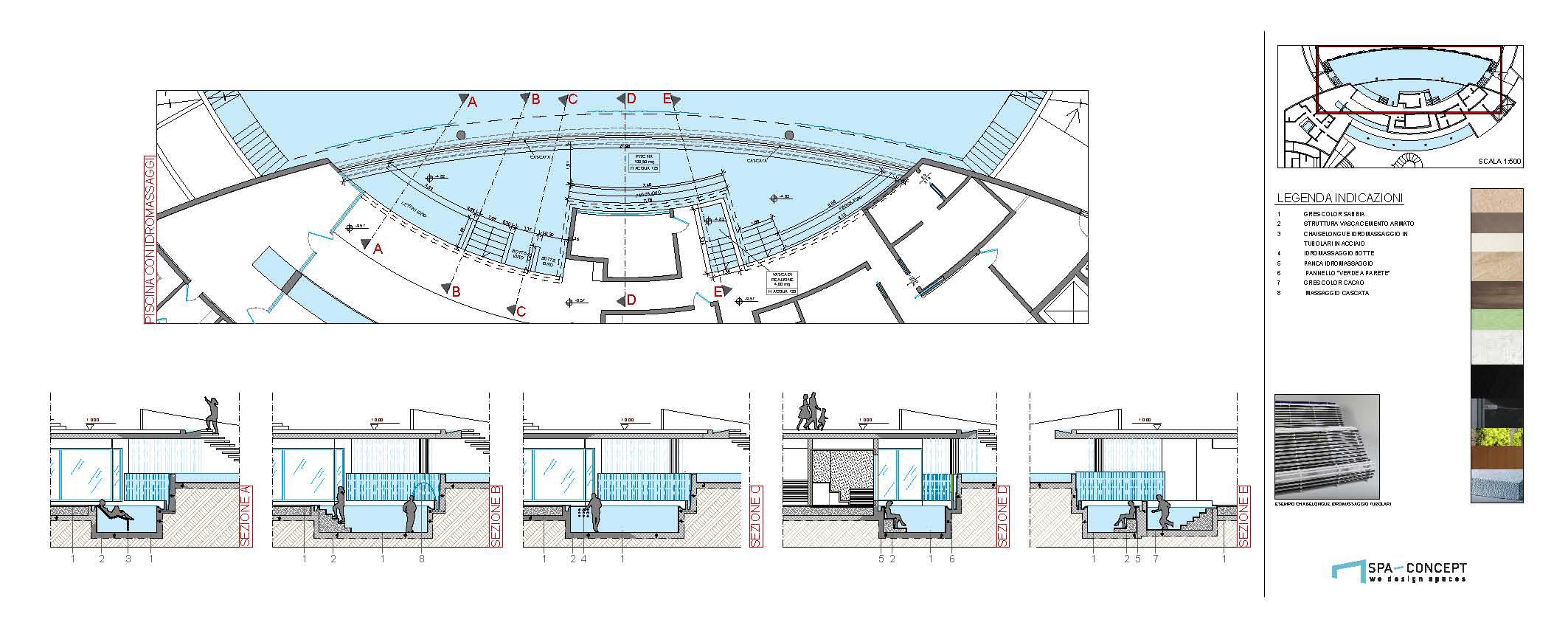 Sezioni architettoniche progetto spa